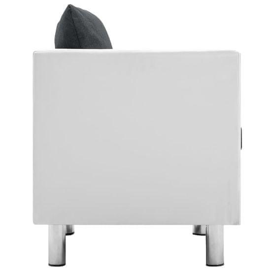 shumee Kavč trosed umetno usnje bele in temno sive barve