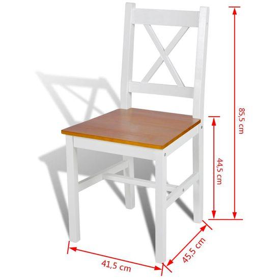 Greatstore Jedálenské stoličky 6 ks, biele, borovicové drevo