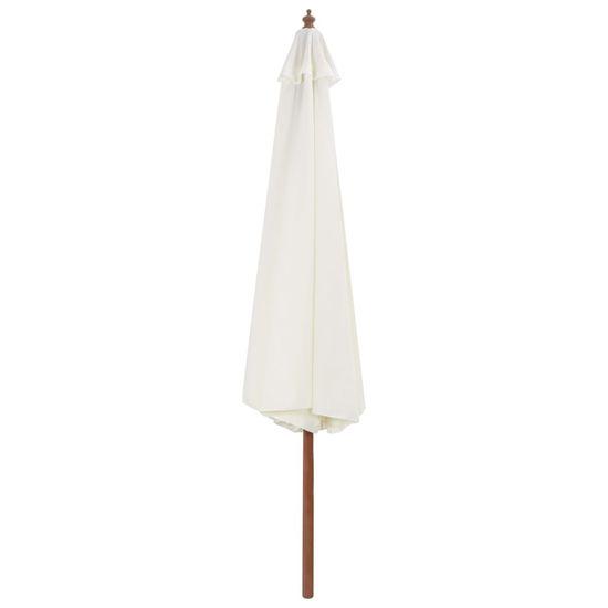 shumee Zunanji senčnik z lesenim drogom 350 cm peščeno bel
