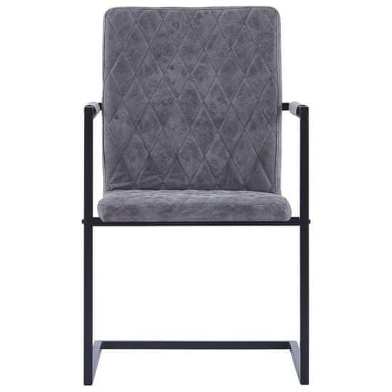 shumee Nihajni jedilni stoli 2 kosa temno sivo umetno usnje