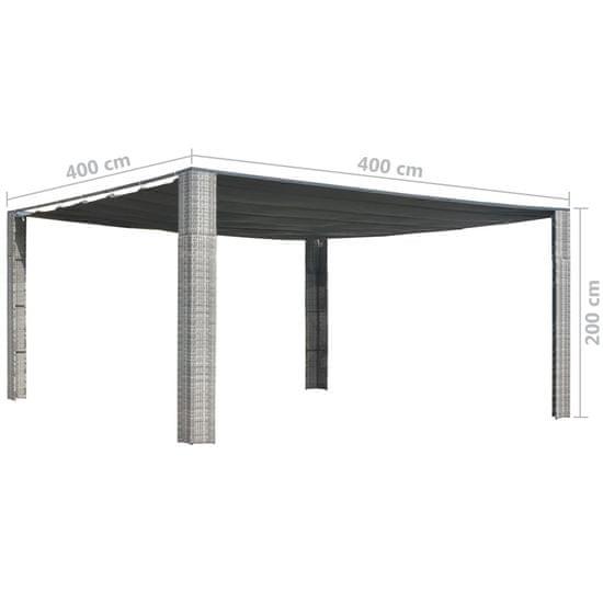 shumee Paviljon z drsno streho 400x400x200 cm siv in antraciten