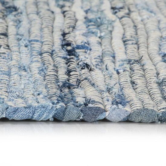 shumee Ročno tkana Chindi preproga iz džinsa 200x290 cm modra