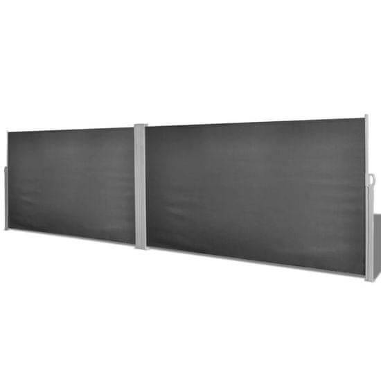 shumee Zložljiva stranska tenda črna 160x600 cm