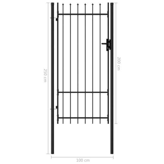 Greatstore Jednokrídlová plotová brána s hrotmi, oceľ 1x2 m, čierna