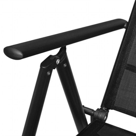 shumee 2 db fekete összecsukható alumínium és textilén kerti szék