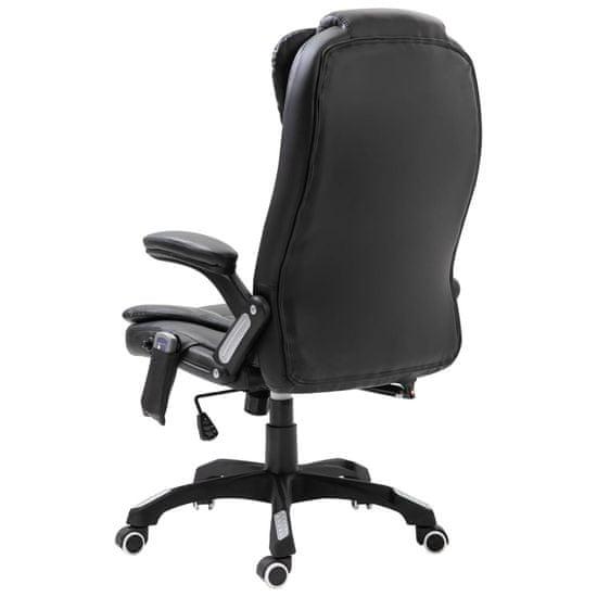 shumee Masažni pisarniški stol iz umetnega usnja črn
