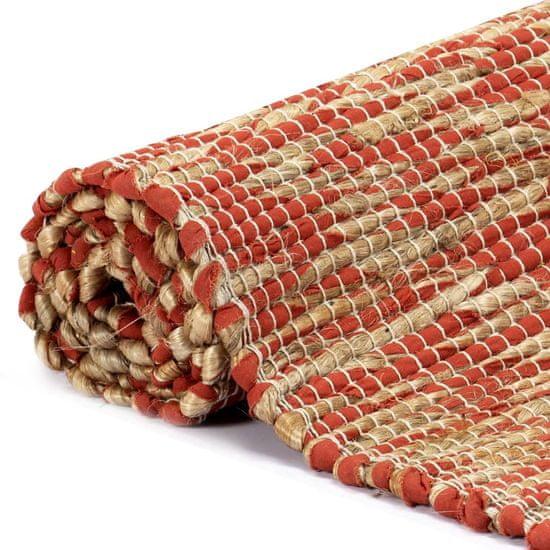 shumee Ręcznie wykonany dywan, juta, czerwony i naturalny, 80x160 cm