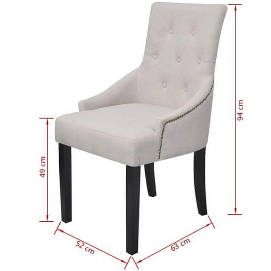 shumee Jedilni stoli 6 kosov kremno sivo blago