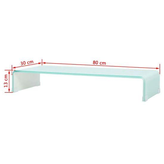 shumee Stojalo za TV/Računalniški Zaslon Belo Steklo 80x30x13 cm