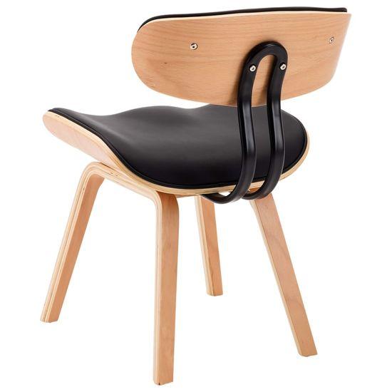 shumee Jedilni stoli 4 kosi črni ukrivljen les in umetno usnje
