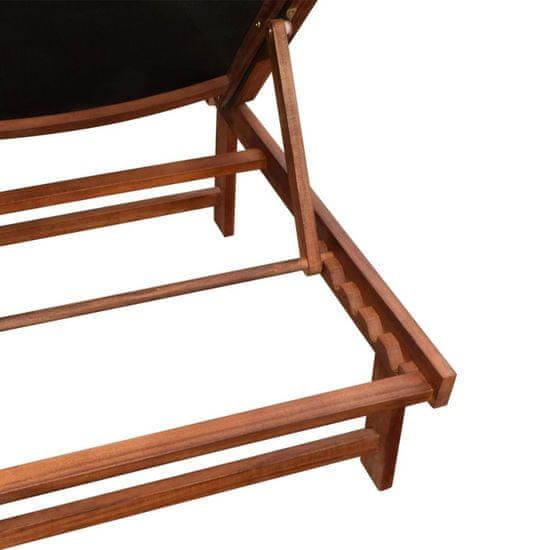 shumee Záhradné ležadlá 2 ks so stolíkom, akáciový masív a textilén