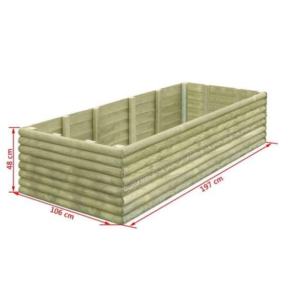 shumee Vyvýšený záhradný záhon 206x100x48 cm, impregnovaná borovica