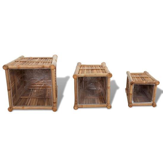 shumee Podwyższone donice, bambusowe, nylonowa wyściółka, 3 sztuki