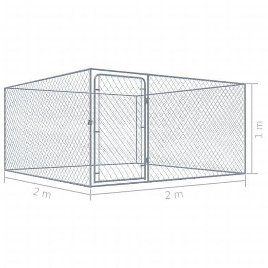 shumee Zunanji pasji boks pocinkano jeklo 2x2x1 m