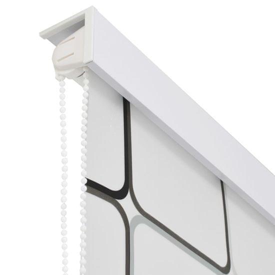 shumee Roleta prysznicowa 80 x 240 cm, wzór w kwadraty