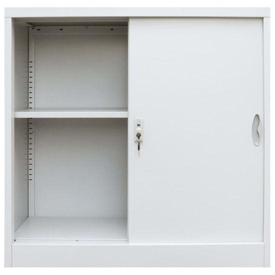 shumee Kancelářská skříň s posuvnými dveřmi kovová 90x40x90 cm šedá