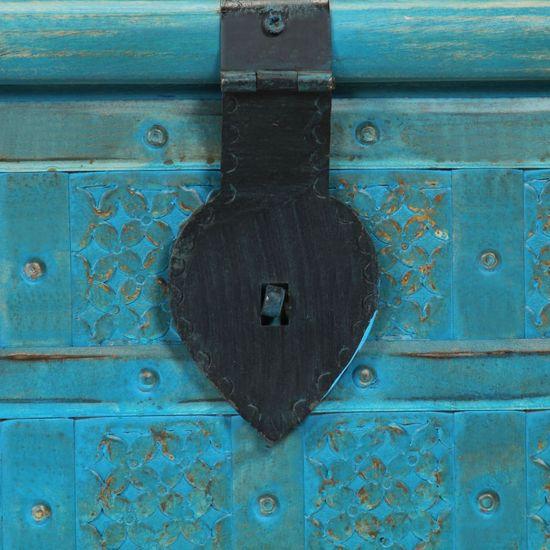 shumee Skrzynia z litego drewna mango, niebieska, 100 x 40 x 41 cm