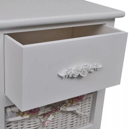 shumee fehér császárfa szekrény 1 fiókkal és 3 kosárral