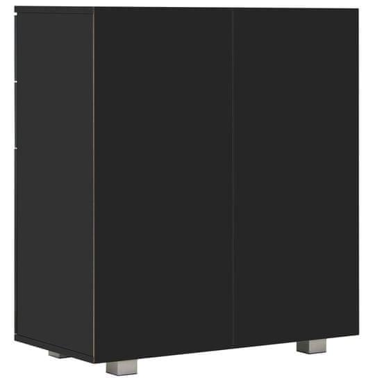 shumee Komoda visok sijaj črna 71x35x76 cm iverna plošča