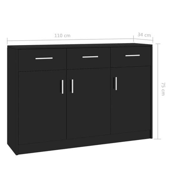 shumee magasfényű fekete forgácslap tálalószekrény 110 x 30 x 75 cm