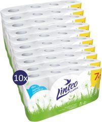 LINTEO Toaletný papier CLASSIC 10x 7+1 zdarma 8 ks, biely 2 vrstvový