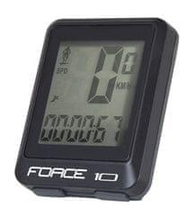 Force Tachometr (cyklopočítač) 10 funkcí, drátový - barva černá