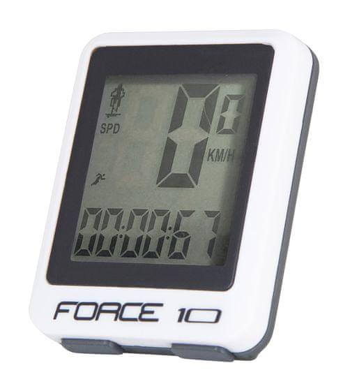 Force Tachometr (cyklopočítač) 10 funkcí, drátový - barva bílá