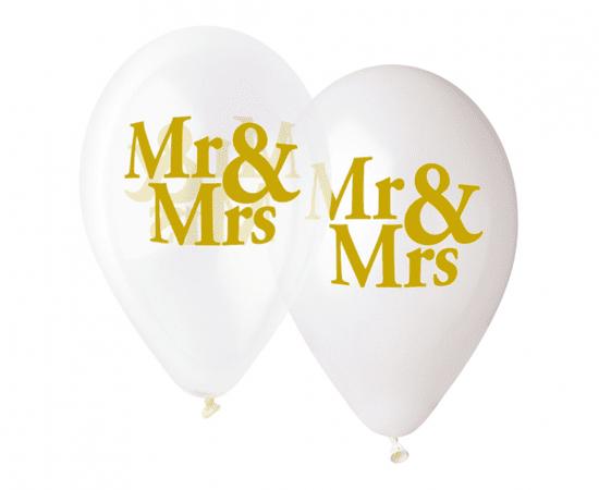 "Gemar Balony lateksowe PREMIUM ""Mr & Mrs"" - na hel - 5 szt"