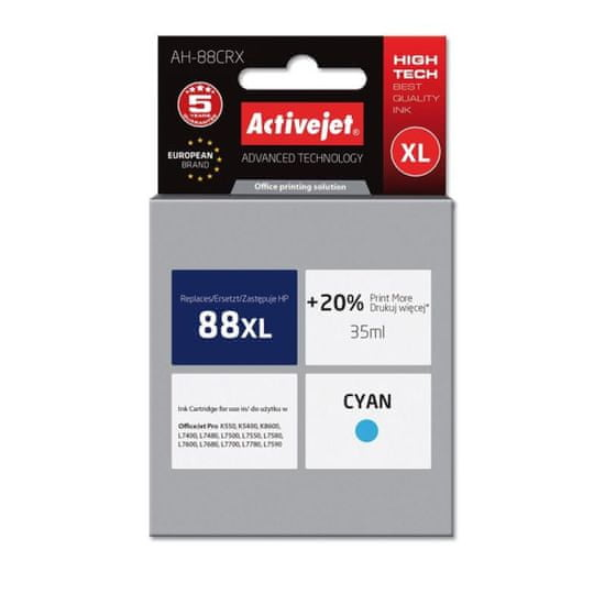 ActiveJet kompatibilna tinta HP 88XL C9391AE, cyan