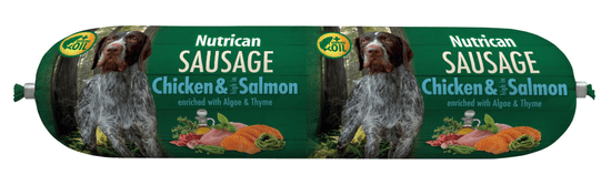 Nutrican salama za pse Sausage Chicken & Salmon 12x800 g