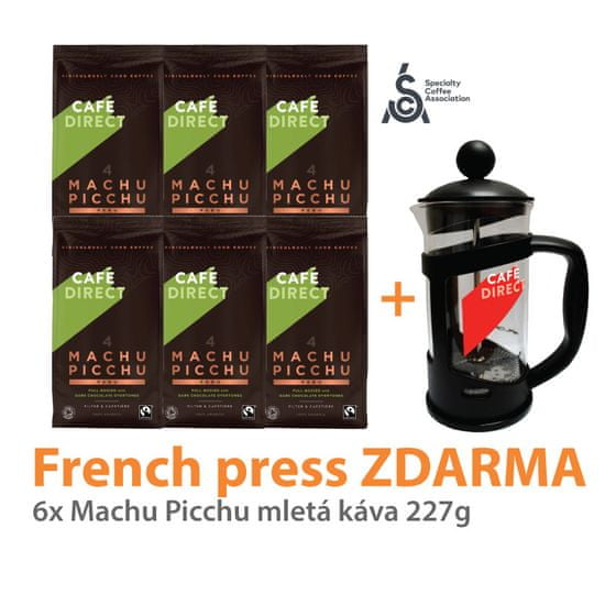 Cafédirect 6x BIO Machu Picchu mletá káva 227g + French Press 350ml