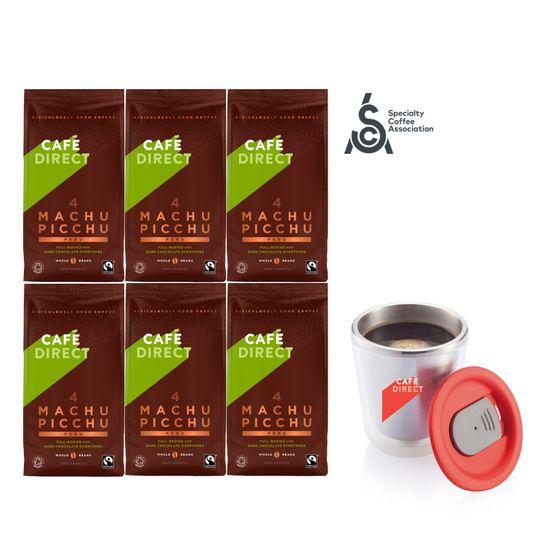 Cafédirect 6x BIO Machu Picchu zrnková káva 227g + nerezový hrnek 200ml