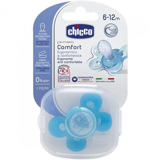 Chicco Smoczek silikonowy PHYSIO COMFORT, niebieski, 6m +