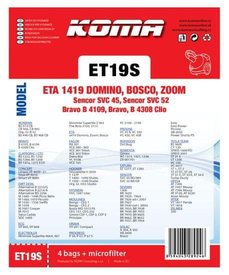 KOMA ET19S - Vrecká do vysávača ETA Domino 1419 textilné, 4ks