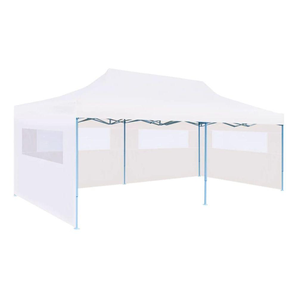 Skládací nůžkový stan s bočními stěnami 3 x 6 m ocel bílý