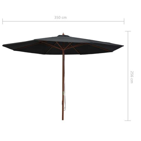 shumee Zunanji senčnik z lesenim drogom 350 cm črn