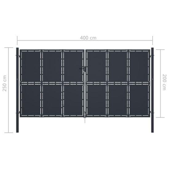 shumee Záhradná brána, oceľ 400x200 cm, antracitová