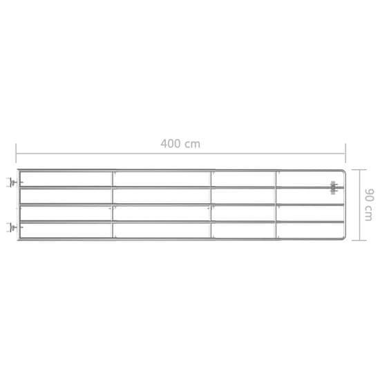 shumee Brama do zagrody, 5 prętów, stal, (150-400)x90 cm, srebrna