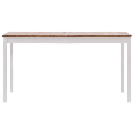 shumee Jedálenský stôl, biely a hnedý 140x70x73 cm, borovicové drevo