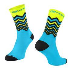 Force Cyklistické ponožky Wave - modro-fluo žluté, S-M