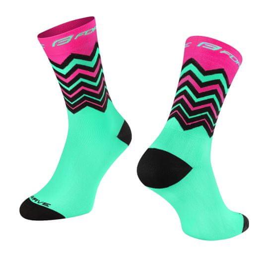 Force Cyklistické ponožky Wave - růžovo-tyrkysové