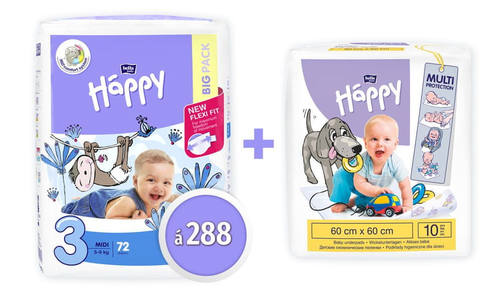 Bella Happy 3 Midi Big Pack 72 ks x 4 (288 ks)