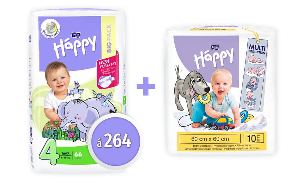 Bella Happy 4 Maxi Big Pack (8-18 kg) 264 ks (4x66 ks)