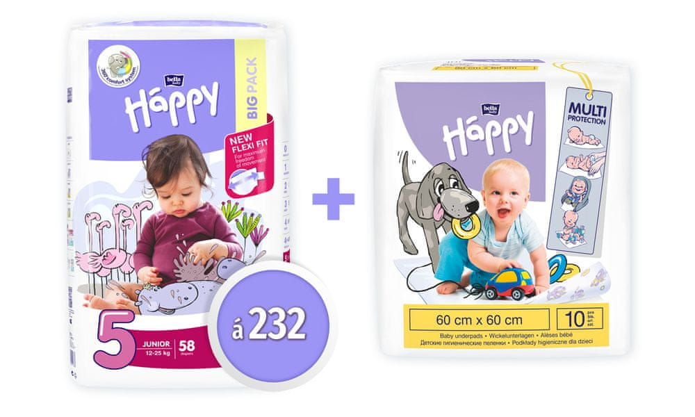 Bella Happy 5 Junior Big Pack (12-25 kg) 232 ks (4x58 ks)