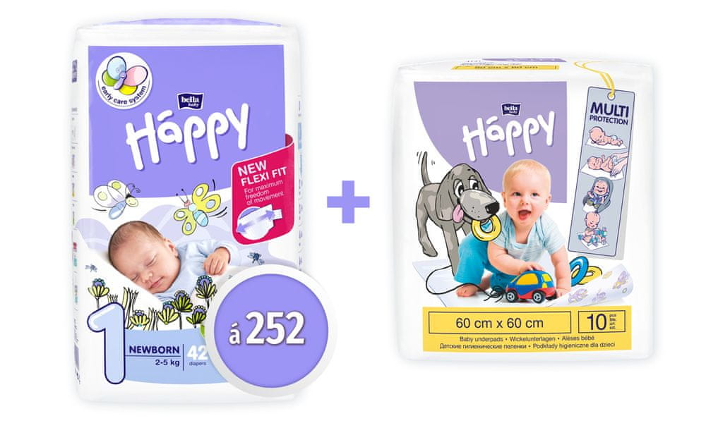 Bella Happy 1 New Born Big Pack (2-5 kg) 252 ks (6x42 ks)