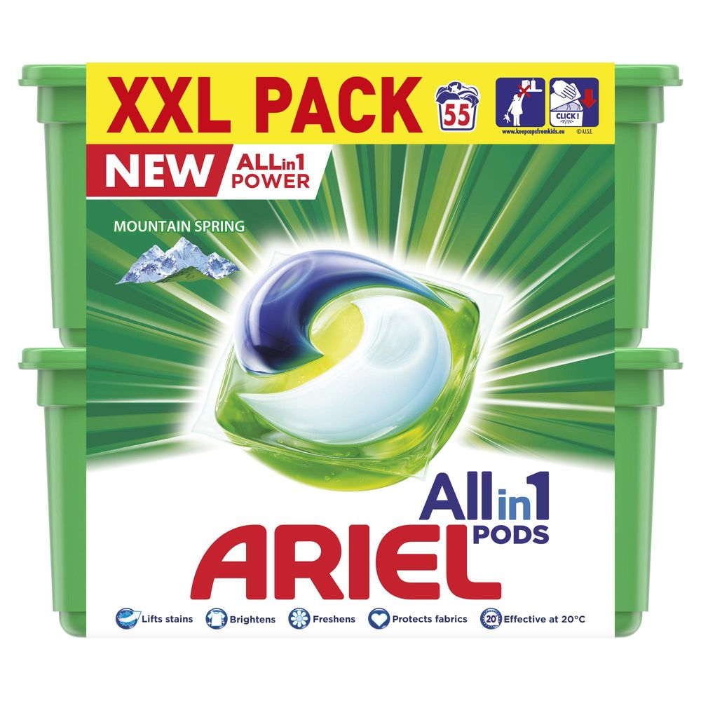 Ariel All-in-1 Mountain Spring Kapsle na praní 55 ks