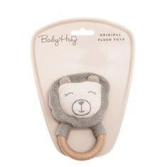 Baby Hug zvečka lav, pletena s drvenim prstenom, 13 cm