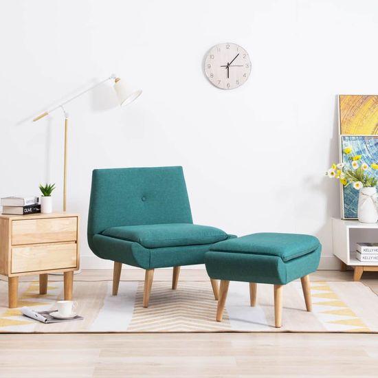 shumee Počivalni stol s stolčkom za noge zeleno blago