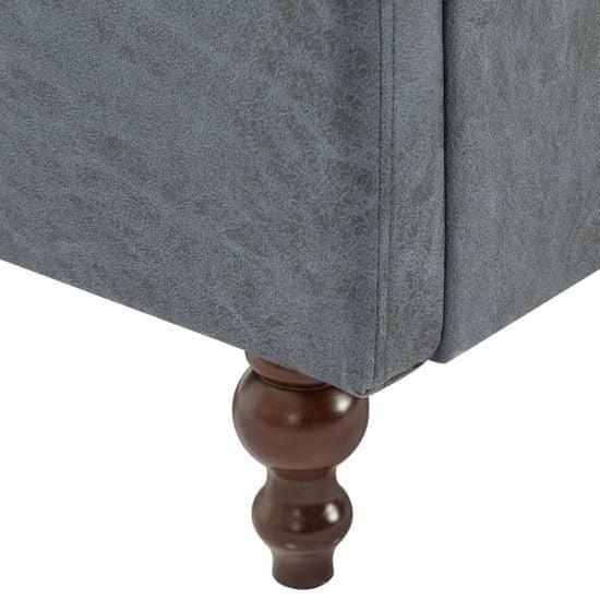 shumee Komplet chesterfield kavčev 2 kosa obloga iz blaga sive barve