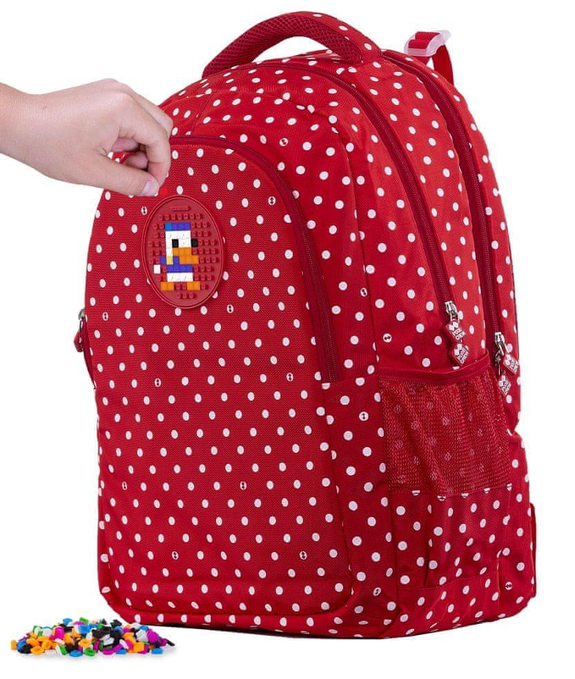 Pixie Crew Studentský batoh červený s bílými puntíky